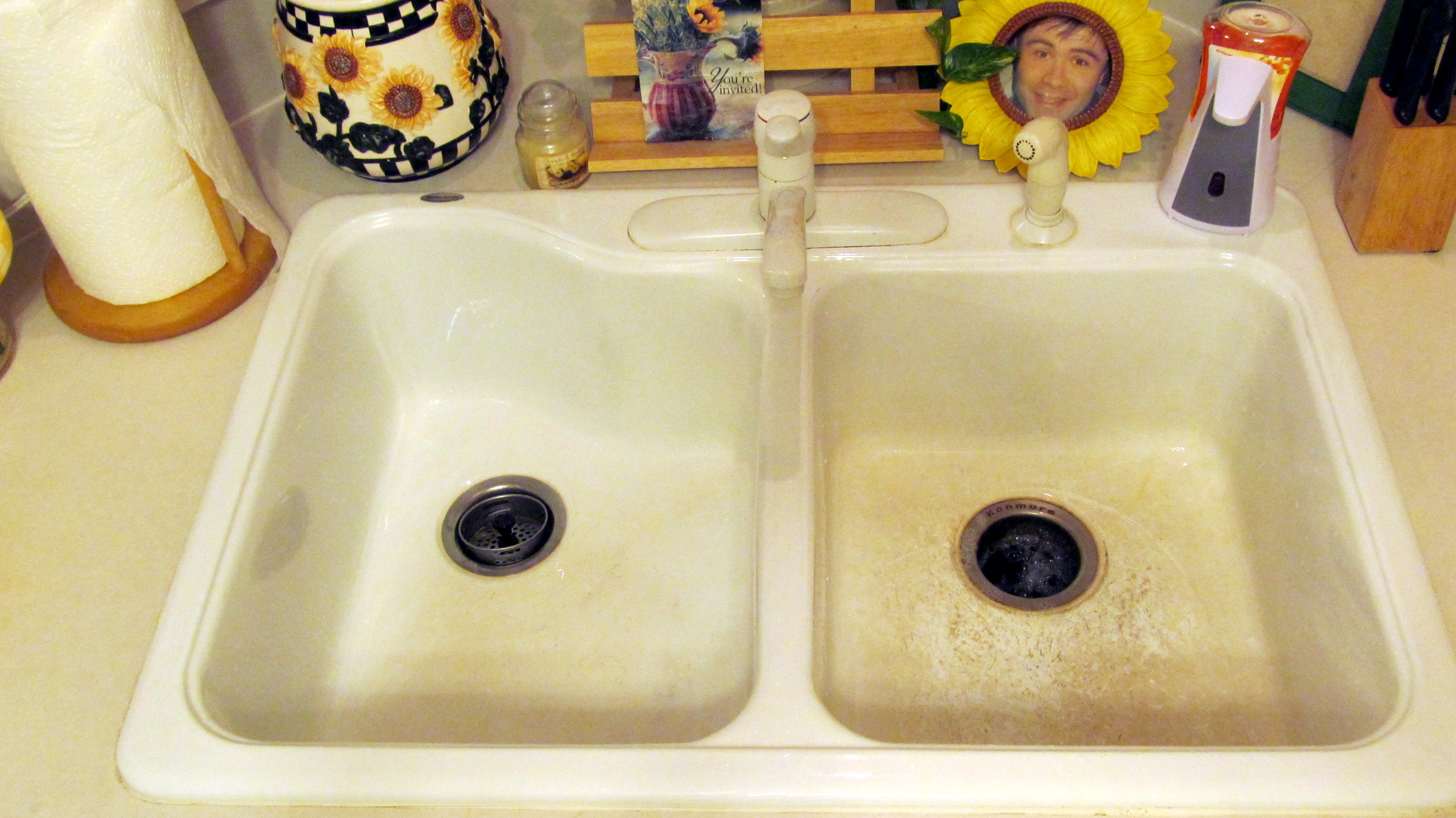 lovely How To Clean A White Kitchen Sink #3: Before and After