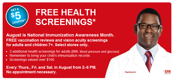cvs  free health screening and  5 store coupon