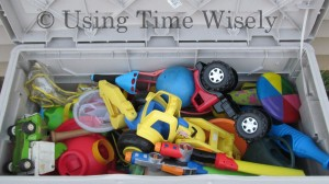 Overfilled outside toy chest